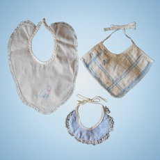 Three Bibs for Small Baby Dolls--1930-50's