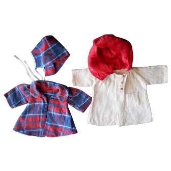 """Two Vintage 1940-50 Hooded Coats for 14-16"""" Dolls"""