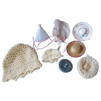 Eight Hats for Small to Medium Dolls--1930-80's