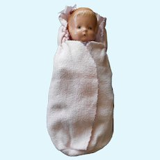 Cutest Pink Flannel Baby Doll Bunting--Vintage 1950's