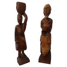 "Pair of  10"" Wood Folk Sculptures from Haiti--circa 1980's"