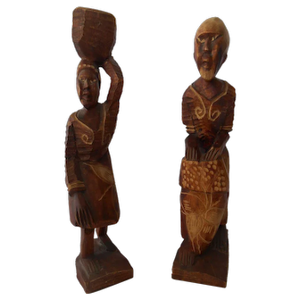 Pair of Wood Folk Sculptures from Haiti--circa 1980's