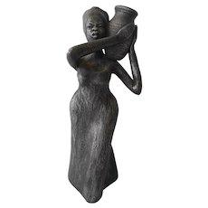 "Metallic Glazed 9 1/2"" tall Ceramic Sculpture from Jamaica--circa 1980's"