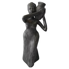 Metallic Glazed Ceramic Sculpture from Jamaica--circa 1980's