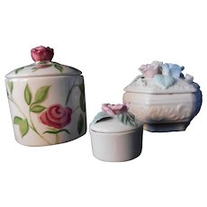 Collection of Three Ceramic Rose Themed Trinket Boxes
