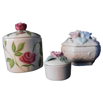 Collection of Three Rose Themed Trinket Boxes