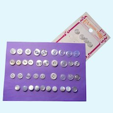 42 White, Clear, and Pearly Buttons: Small Size for Doll Projects