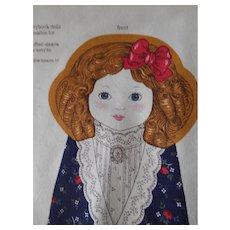 """Vintage Panel, sew your own old fashioned doll """"Goldilocks"""""""