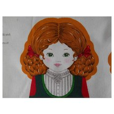 "Vintage Printed Panel, sew your own 16"" old fashioned doll ""Gretel"""