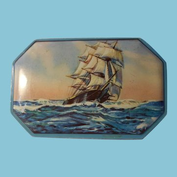 Vintage Candy Box with Sailing Ship Motif