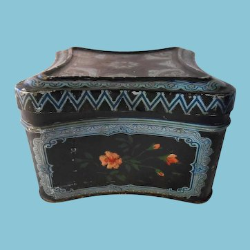 Antique Hinged Litho and Hand Painted Metal Box