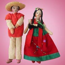 Pair of Vintage Mexican Souvenir Dolls--1940's-50's