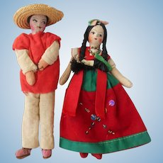 "Pair of 8"" tall Mexican Souvenir Dolls--1940's-50's"