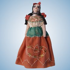 """Vintage Hand Made 8"""" cloth doll from Mexico"""