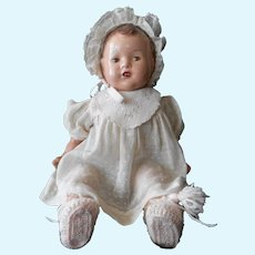 Composition and Cloth Baby Doll from 1930's--Unmarked, in Original Dress and Bonnet