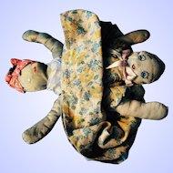 Folk Art Handmade Topsy Turvy Doll--1930's