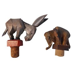 Drinking Political! Donkey and Elephant Carved Wood Action Bottle Stoppers--1940-50's