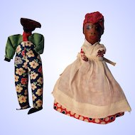 Black African American Pair with Heads Made from Nuts and Seeds--1930-40's