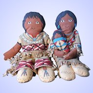 Family Trio of Soft Stuffed Native American Indian Dolls
