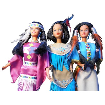 Three Native American Barbies