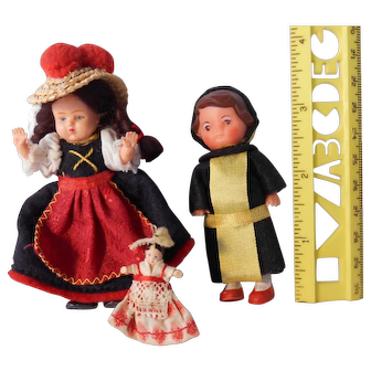 """Two Very Small (under 4"""") Dolls from Germany, and their One inch Friend"""