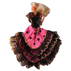 """Vintage Flamenco Dress from Spain Fits Barbie, Other 11-12"""" Dolls"""