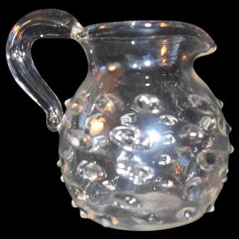 Hand Blown Miniature Hobnail Glass Pitcher