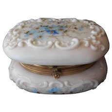 Hand Painted Glass Trinket Box--early 20th Century
