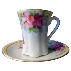 Antique Nippon Hand Painted Chocolate Cup and Saucer