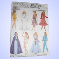 1980's Barbie sized wardrobe pattern