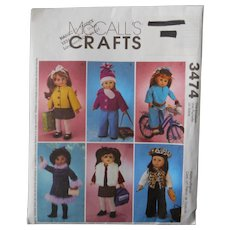 "McCall's Crafts Wardrobe Pattern for American Girl or other 18"" Dolls"