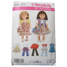 """American Girl or other 18"""" Doll Wardrobe Pattern"""