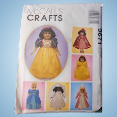 "Storybook Princess Pattern for 18"" Dolls by McCall's"