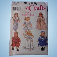 "Simplicity Pattern for Historic & Vintage Styles, American Girl or other 18"" Dolls"