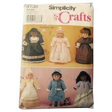 "Historic Dress Pattern by Simplicity for American Girl or other 18"" Dolls"