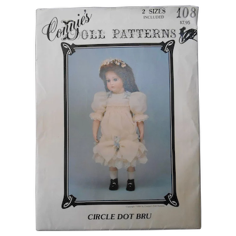 "Connie's Doll Pattern #108 for 14 and 19 1/2"" Dolls ""Circle Dot Bru"""
