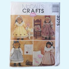 """McCalls Craft Pattern for 18"""" Doll Dresses, Pinafores & Nightgown"""