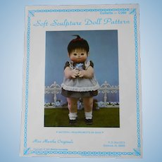 "Soft Sculpture 26"" Doll Pattern from Miss Martha Originals, Includes 2 Sheets of Iron-On Eyes"