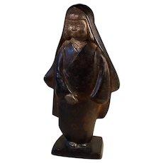 Unusual Vintage Asian Cold Gilt Bronze Child Statue