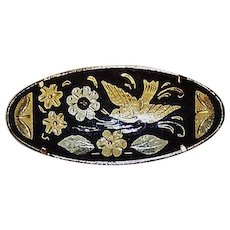 Vintage Damascene Toledo Gold Decorated Oval Pin/Brooch