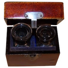 Antique Traveling Ink Bottle Set in Brown Lacquer Box
