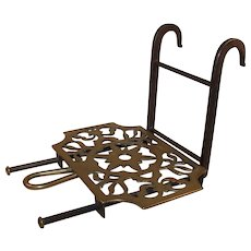 Sliding Brass Trivet, Wrought Iron Base, Hanging Hooks, Signed c. 1800