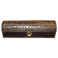 Vintage Wooden Box with Brass Decoration ~ Great Patina ~