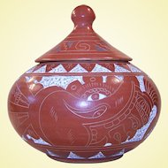 Vintage Mayan Pot with Lid, Warrior Sgraffito Design, Mesoamerica