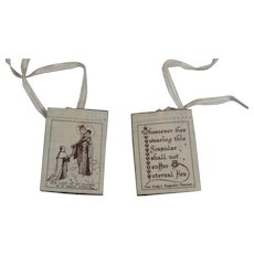 Mid-Century Catholic Scapular Our Lady of Mt. Carmel Our Lady's Scapular Promise