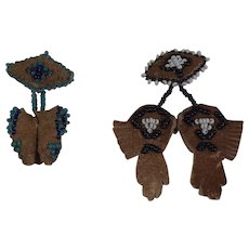 Vintage Handmade Beaded Native Moccasin & Gauntlet  Pins