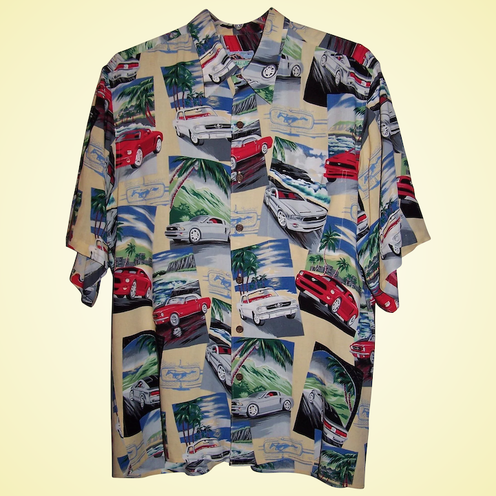 44418a6e Vintage Hawaiian Shirt Ford Mustang Reyn Spooner ~ Size Large ~ Excellent!