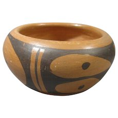 Small Hopi Pottery Pot, Black on Buff, Signed Frieda Poleahla (1918 - 1994)