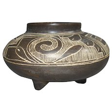 Tri-pod Pottery Jar, Western Mexico (Nayarit), Incised Decorations