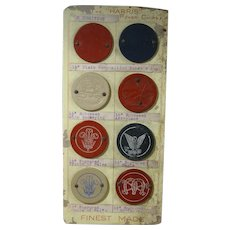 """Rare Circa 1930s Sample Card Composition Poker Chips, The """"HARRIS"""", Eight Chips"""